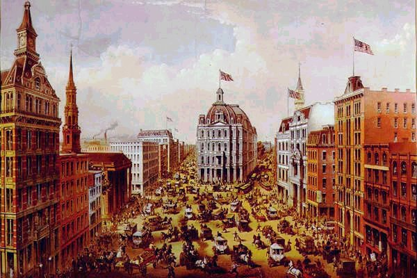 currier and ives print of broadway in new york city